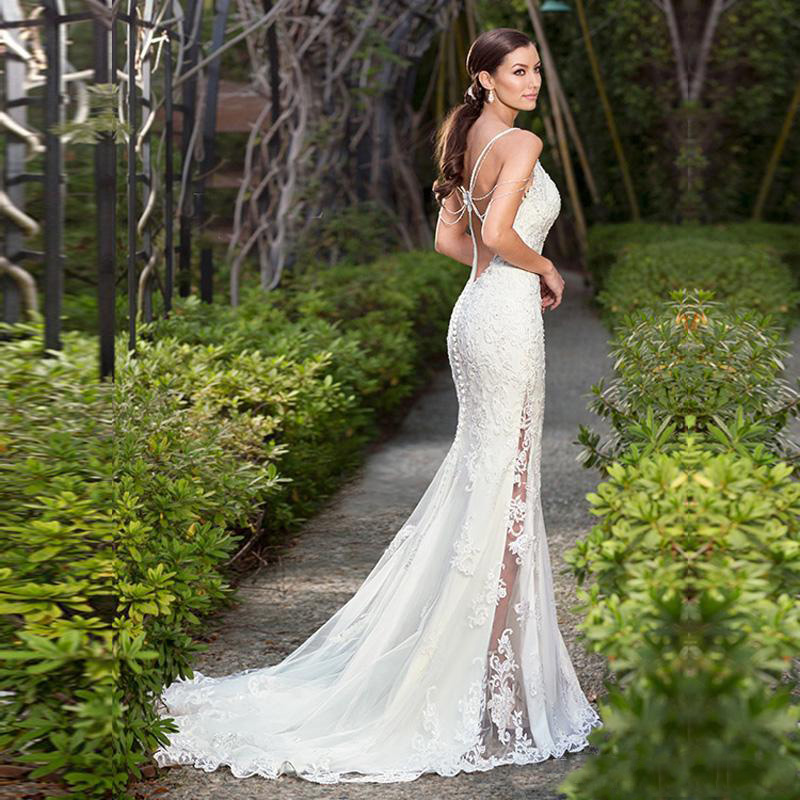 LORIE 2019 Sexy Mermaid Beach Wedding Dress Lace Appliqued Bride Dress Detachable Train Wedding Gown Sleeveless