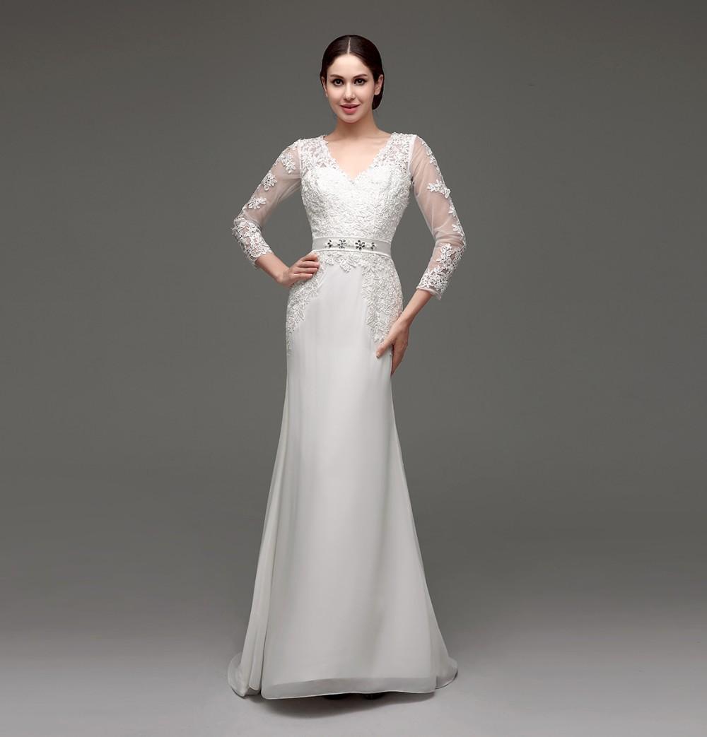 Long Sleeve Sheath Lace Appliqued Bridal Dress 8