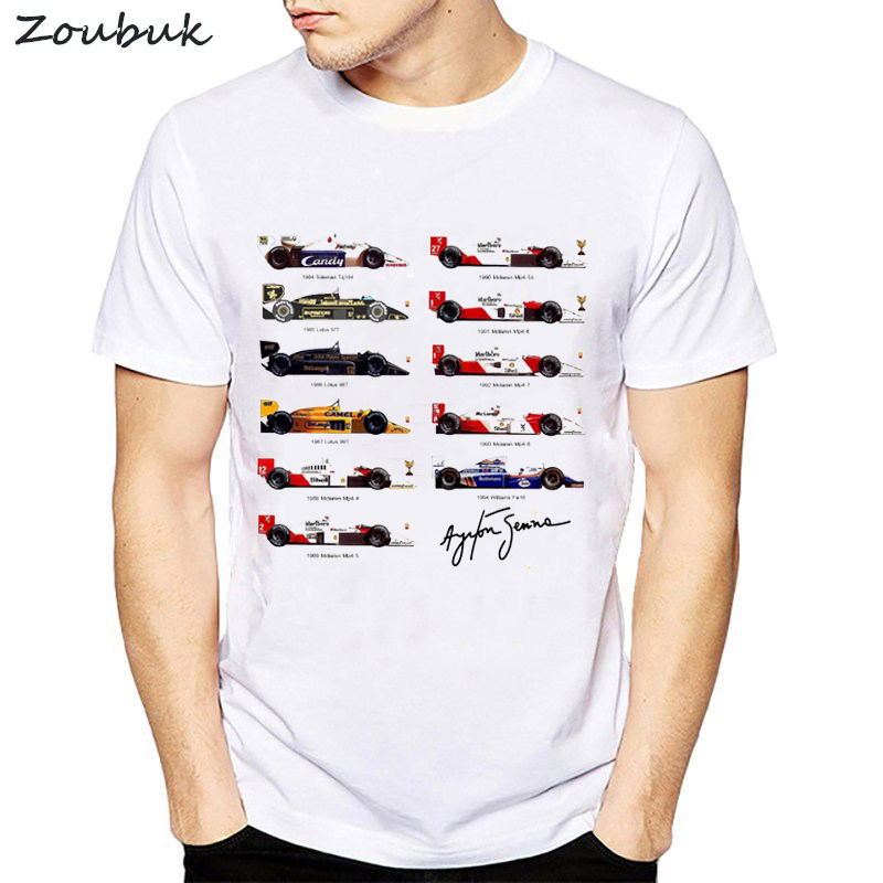 All F1 Ayrton Senna sennacars t shirt men Cars Fans male cool T-shirt Slim Fit white fitness Casual Tops tee shirt homme camisa