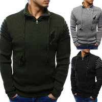 2018 Autumn Winter men sweater pullovers Simple Ripped cotton knitted V neck sweater jumpers male knitwear Blue Red Black M XXL