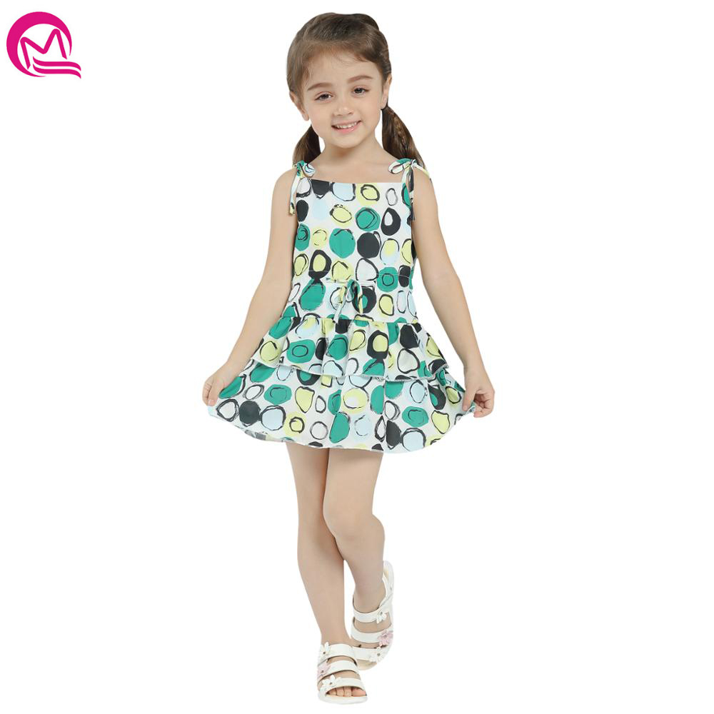 MIQI Casual Style Dress for Kids A Line Sleeveless Girls Dress Cute Print Pattern Children Clothing 2-6 Years new kids girls fashion o neck sleeveless dress cute animals print dress girls a line dress clear