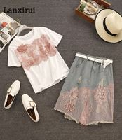 2018 Summer New Women White T Shirts Spliced Pink Lace Floral Sweet Tops +High Waist Zipper Denim Lace Skirts 2 Piece Sets