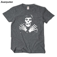 Xuanyutee Punk Rock Band The misfits 3D Print Men T shirt Summer New Cotton O neck Big Yard Short Sleeved Tee Shirt Homme EU 2XL