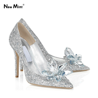 Luxury Brand Crystal Cinderella Heels Shoes Rhinestone Women Wedding Shoes Women High Heels Pumps Bridal Stilettos Heels Shoes