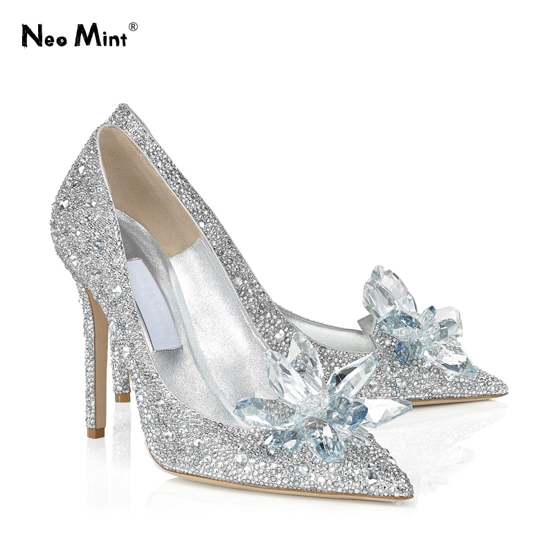 Marque de luxe cristal cendrillon talons chaussures strass femmes chaussures de mariage femmes talons hauts pompes mariée talons aiguilles chaussures