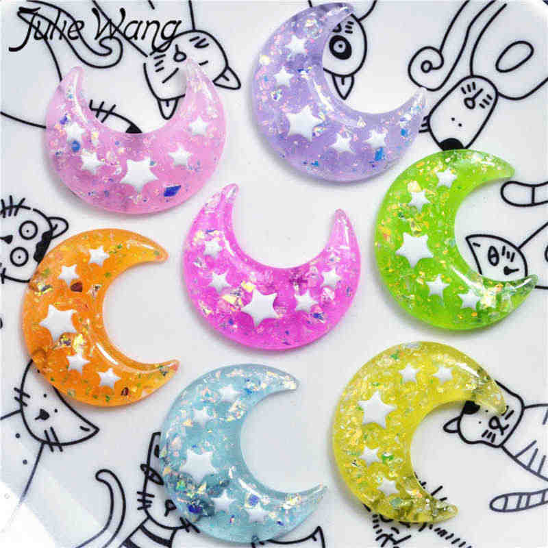 Julie Wang 10PCS Resin Mixed Moon Charms Epoxy Crescent Slime Star Pendants Jewelry Making Accessory Home Table Decor Props