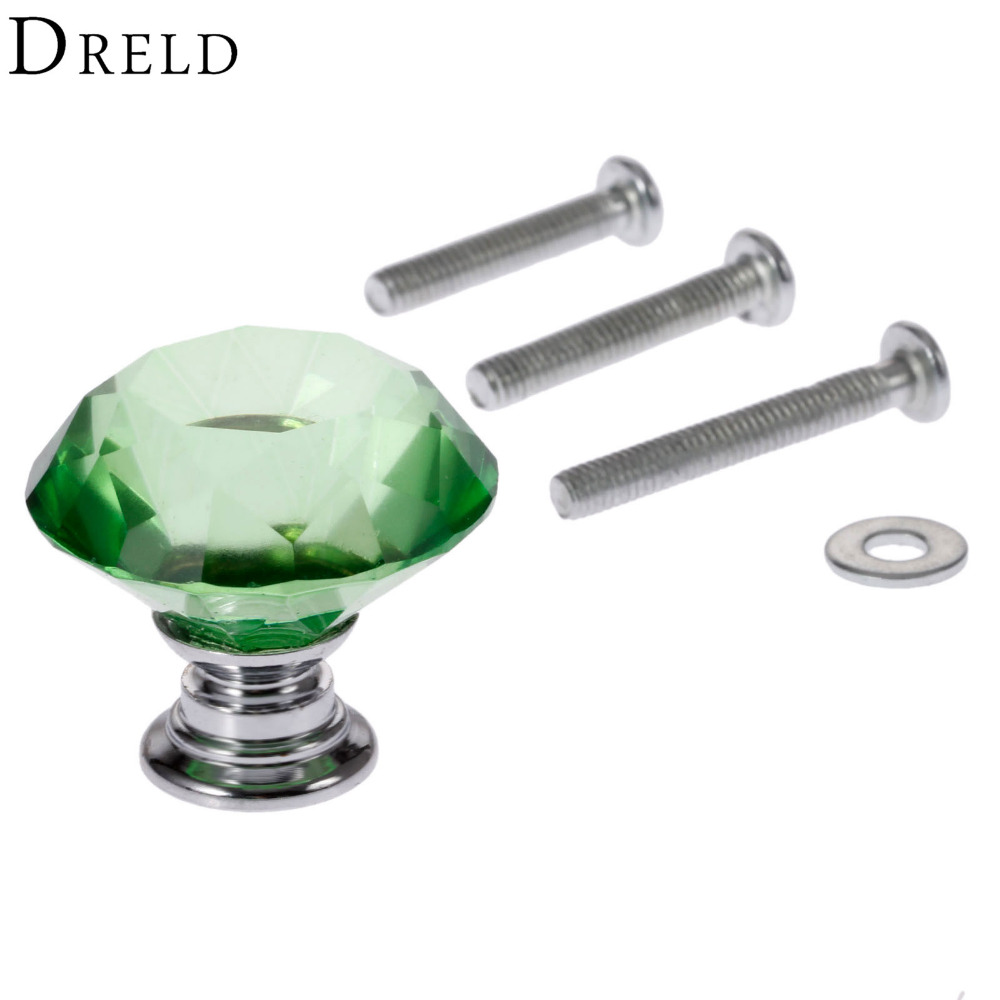 DRELD 1Pc 30mm Diamond Crystal Glass Pull Handle Cabinet Drawer Door Knob Green Kitchen Furniture Handles+3Pcs Screws 22/25/30mm 5pcs knobs 30mm clear crystal glass door handles diamond drawer cabinet furniture kitchen knob with screws