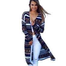 Vintage Women Long Sleeve Geometric Printed Cardigan Loose Jacket Coat Tops