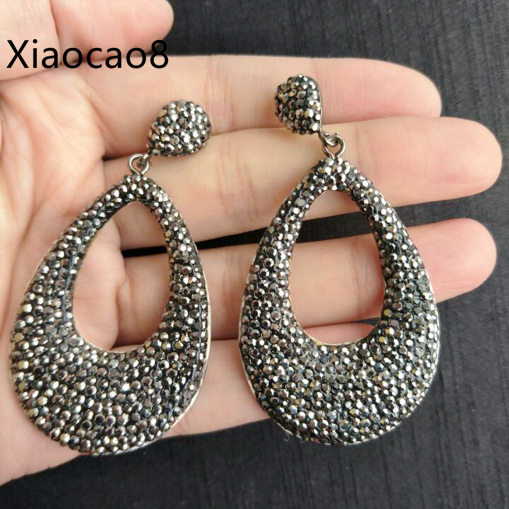 Black Rhinestone Water Drop Big Dangle Earrings Bijoux Femme Costume Jewelery Earrings Fashion Womens Jewelry Brinco 5Pairs