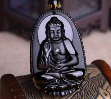 Natural Black Obsidian Carved Buddha Lucky Amulet Pendant Necklace For Women Men pendants Fashion Jewelry