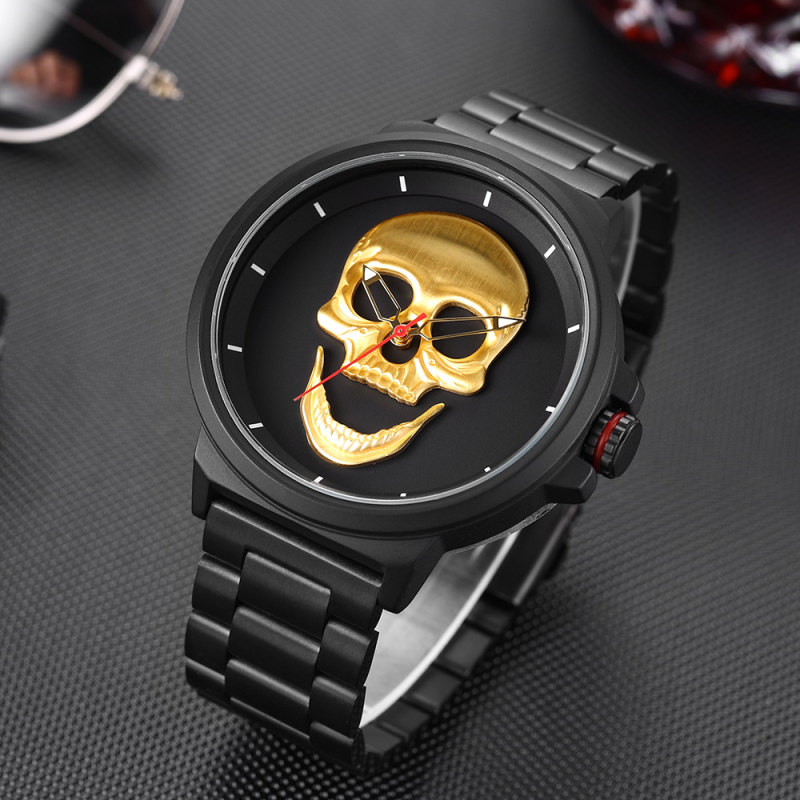 цены 2018 Men Quartz Watch Black Steel Sport Waterproof Skull Watch Men Casual Luxury Creative Men's Watches Male Clock Reloj Hombre