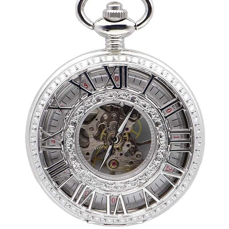 Fashion Unisex Luxury Mechanical Hand Wind Pocket Watch For Men Women Unisex Pocket Watches Chain Male Retro Clock  PJX1384
