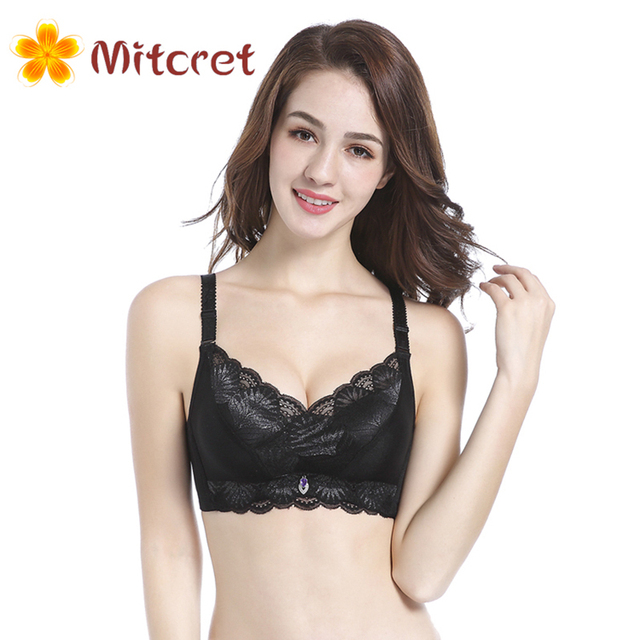 fashion Sexy underwear Wire Free thick cup beauty push up bras lace back closure bralette lingerie bra for women Brassiere
