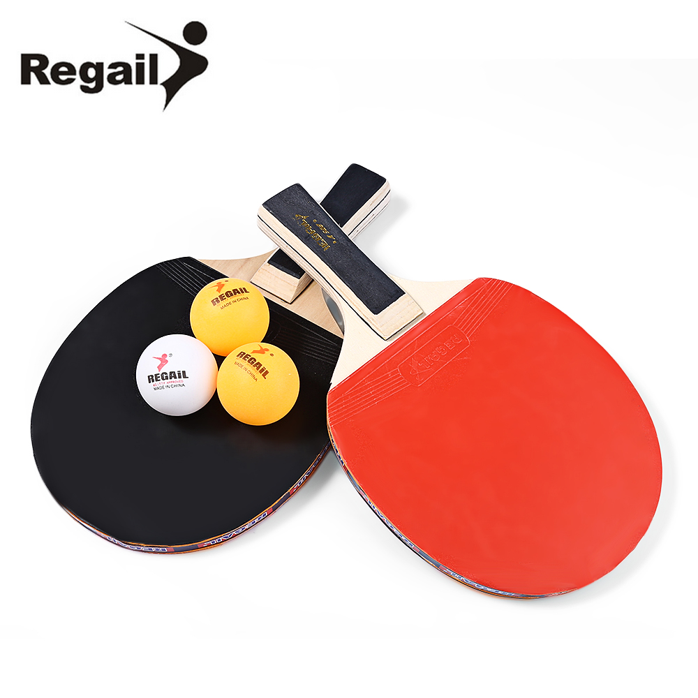 REGAIL A508 Table Tennis Rackets Two Long Handle Bat Paddle Three Balls Heavy Tip Light Handle Black Orange Ping Pong Racket