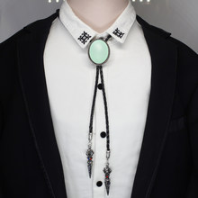 HZSHINLING Oval New Trendy Mint Green Bolo Tie Western Cowboy Shirt Accessory Red Black Photo Jewelry Egg Bolo-ties necklace(China)