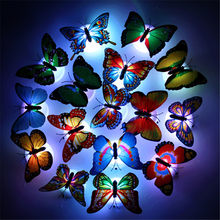 LED Light Night Atmosphere Lamp with Colorful Changing Butterfly Indoor Night Light with Suction Pad Home Party Desk Wall Decor(China)