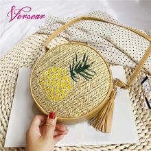 Versear 2019 Women Round Straw Bags Leaf Pineapple Embroidered Boho Vintage Holiday Summer Beach Wild Casual Small Rattan Bag