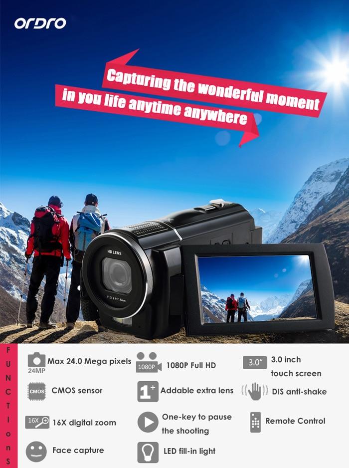 все цены на Original Ordro HDV - F5 3 inch Touch Screen 24MP Digital Video Camera 16X Digital Zoom Camcorder 1080P Full HD DV онлайн