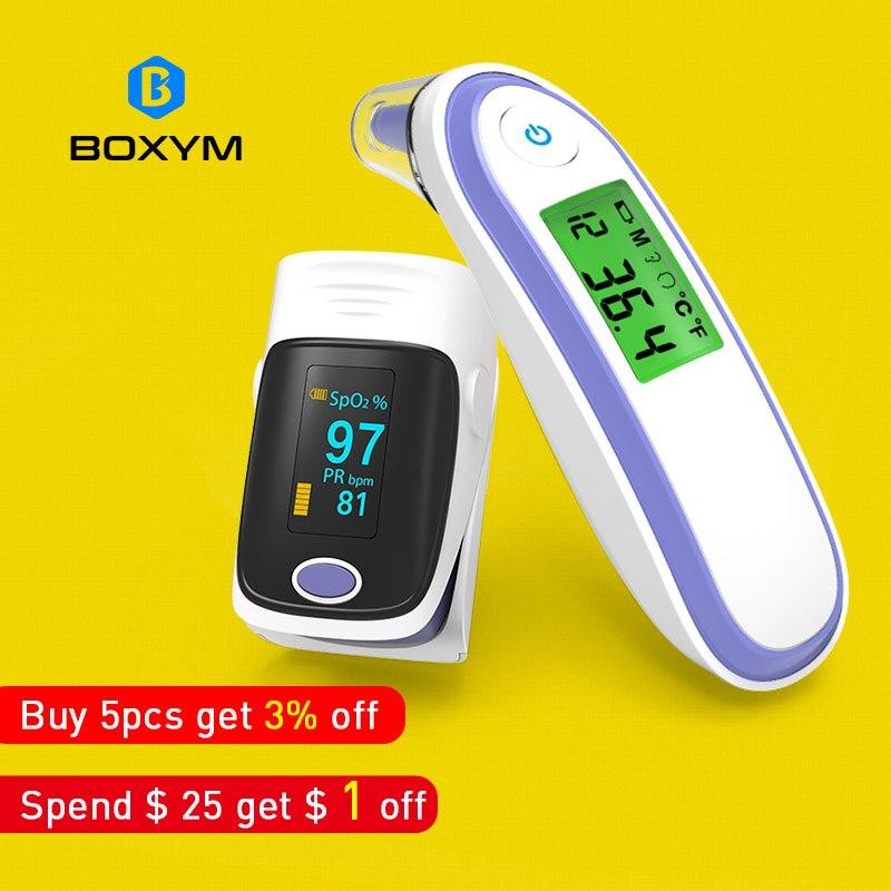 BOXYM médico dedo oxímetro de pulso y de infrarrojos para el oído y termómetro de frente SPO2 PR oximetro de dedo salud del hogar