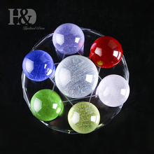 H&D Star of David with Seven Crystal Balls Healing Ball Sphere Fengshui Glass Craft Home Party Wedding Decoration