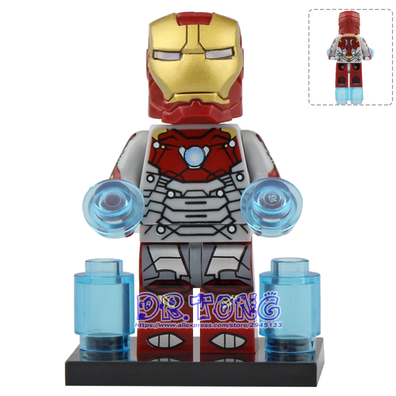 Single Sale Legoingly Spiderman Iron Man Black Panther Red Skull Marvel Action Figure Building Blocks Toys For Children X0221 100% Original Model Building
