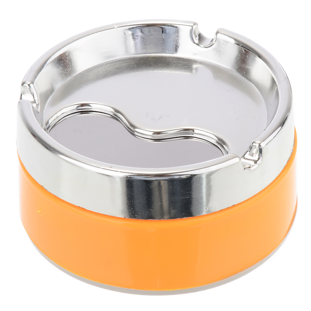 1pc New Silver Orange Detachable Rotatable Lid Cylinder Design Stainless Steel High Temperature Resistance Cigarette Ashtray