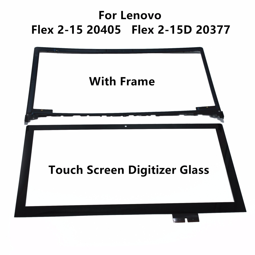 New 15.6 For Lenovo Flex 2 15 20405 2 15D 20377 Laptop Touch Panel Screen Digitizer Glass Sensor Lens Replacement with Frame