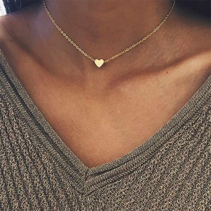 2019 Yeni Altın Gümüş Kaplama Küçük Kalp Kolye Bijoux Kadınlar Yaka moda takı Köprücük Kemiği Kolye Kolye Hediyeler SATıŞ