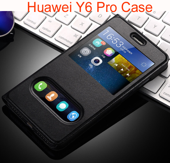 the best attitude 236fc 8a719 US $7.99 |Funda For Huawei Y6 Pro Case Luxury PU Leather Flip Case For  Huawei Y6 Pro Cover Original Phone Cases-in Flip Cases from Cellphones & ...