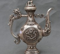12 Tibet Silver Fly Dragon PiXiu Beast Statue Ancient Teapot Wine Pot Flagon