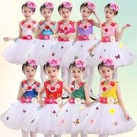 Giyim dans kızlar için prenses dress dress öğrenci koro giyim çocuk modern dans kostümleri çocuklar için salsa etek