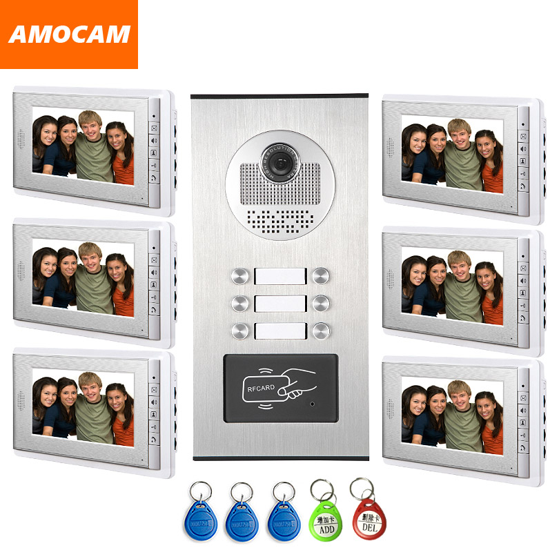 6 Units Video Intercom Apartment Door Phone System HD Camera 7 Monitor video Doorbell with 5-RFID Card Unlock for 6 Household