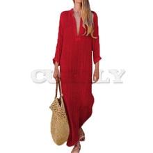 все цены на Women Gypsy Dresses Robe Long Sleeve V-neck Ethnic Boho Cotton Linen Summer Beach Maxi Dress