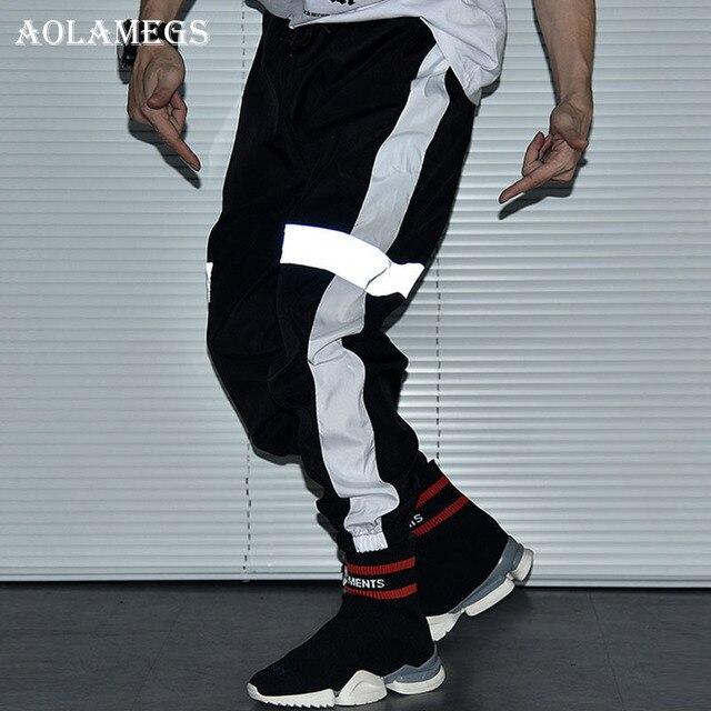 028e40d3 Aolamegs Pants Men Striped Reflective Track Pants Male Trousers Elastic  Waist Fashion High Steet Joggers Sweatpants Streetwear