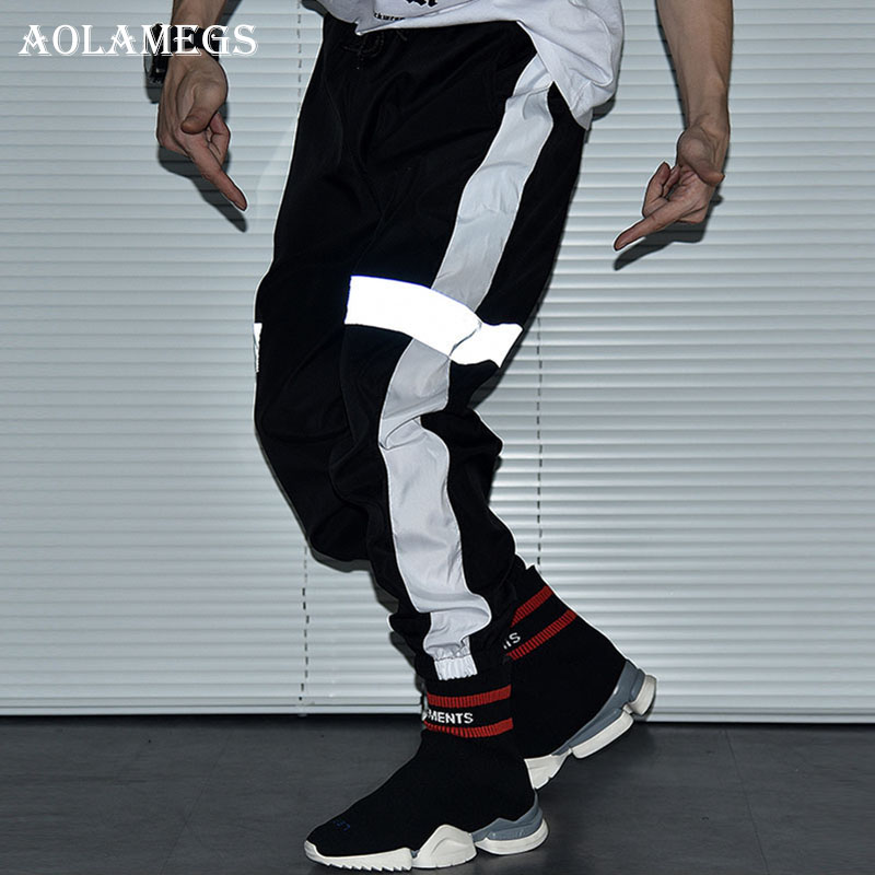 Aolamegs Pants Men Striped Reflective Track Pants Male Trousers Elastic Waist Fashion Hi ...