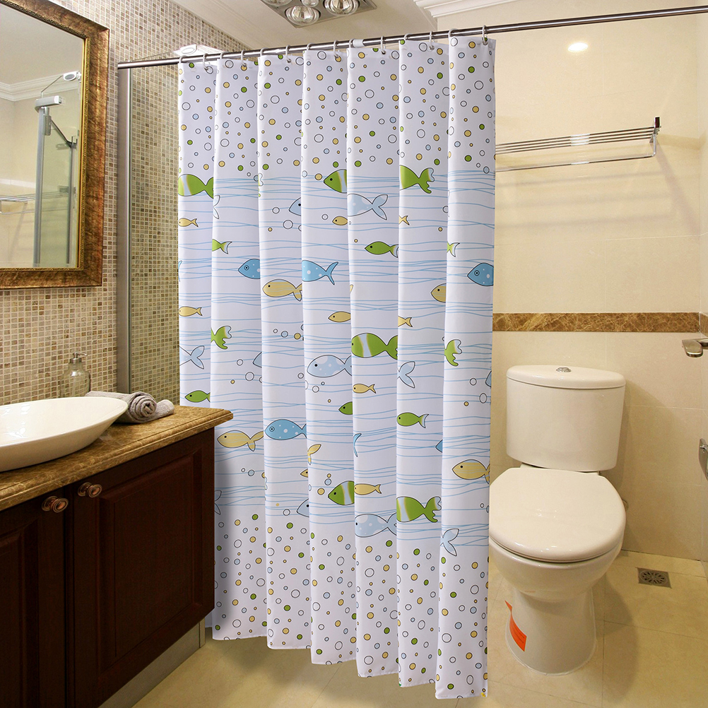 Simple Bath Curtain White Fish Printed Protection PEVA Shower ...