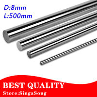 Top Selling OD 8mm X 500mm Cylinder Liner Rail Linear Shaft Optical Axis Chrome For 3D