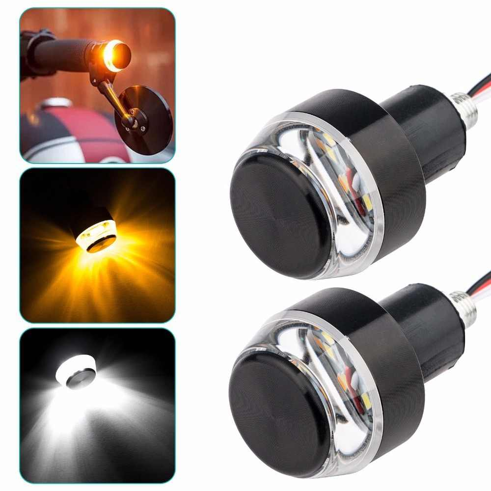 Motorcycle Turn Signal Light LED Handlebar Amber Indicator Flasher 22mm Bar End Blinker Universal