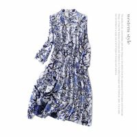 Silk Print Chinese Style A Line Dress 2018 New Brand Runway Women Spring Summer Dress High