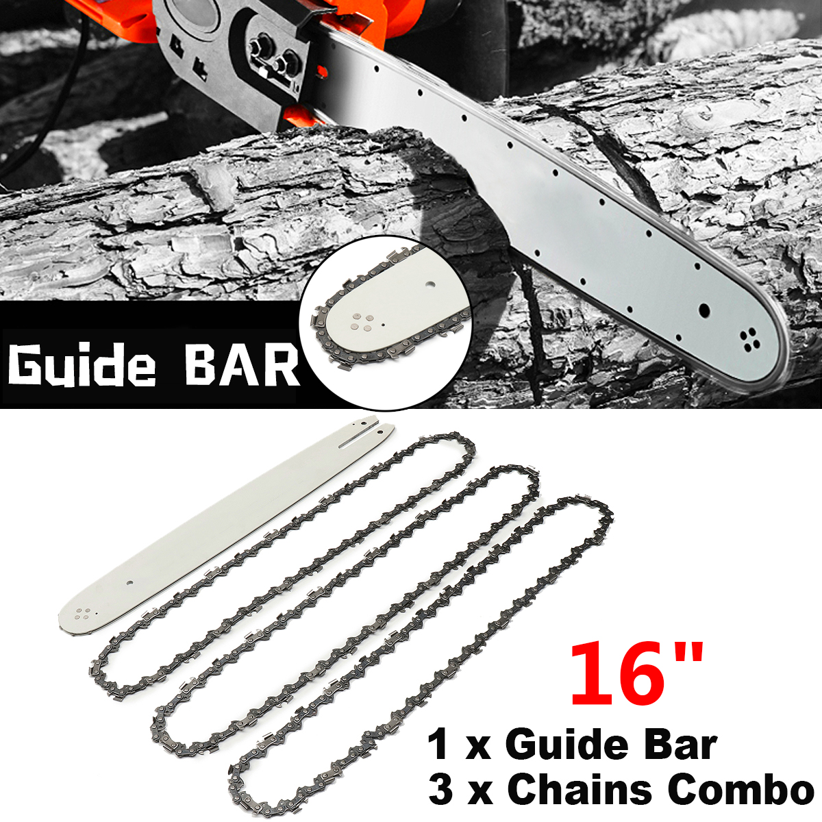 16 Inch Chain Saw Guide Bar with 3pcs Chains for STIHL 009 012 021 E180 MS180 MS190 MS25016 Inch Chain Saw Guide Bar with 3pcs Chains for STIHL 009 012 021 E180 MS180 MS190 MS250