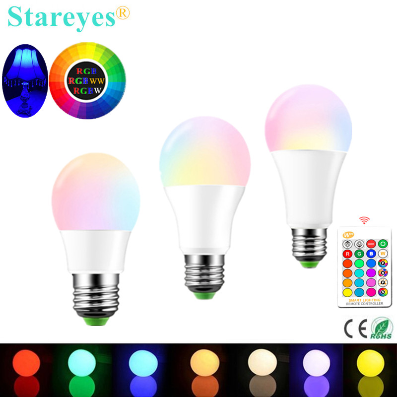 1 Piece E27 LED 16 Color RGBW Changing RGB + White Magic Dimmable Light Lamp AC85-265V Led Ball Bulb 3W 5W 10W + Remote Control