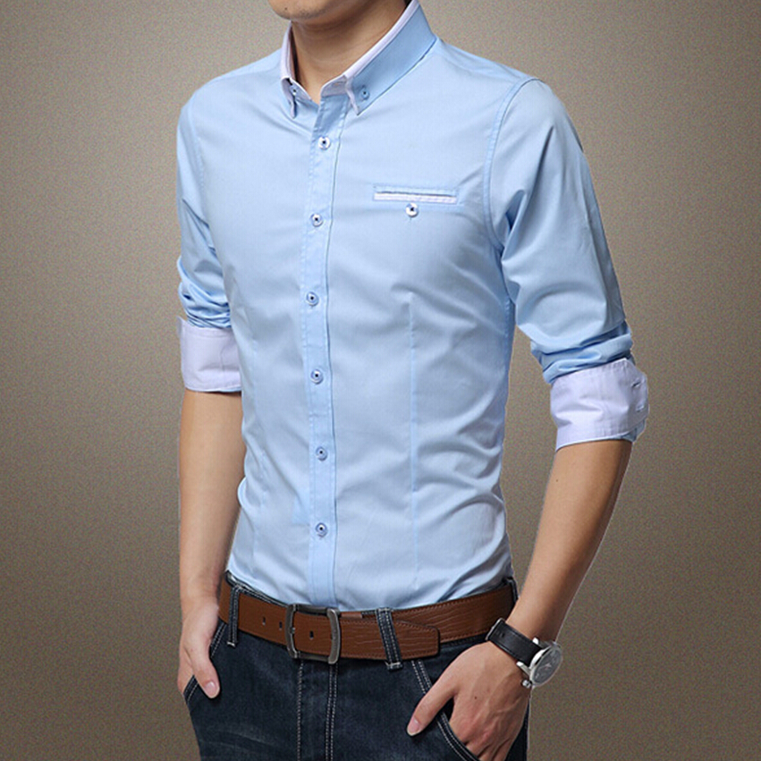 New fashion spring 2016 classic men solid dress shirt long New designer t shirts