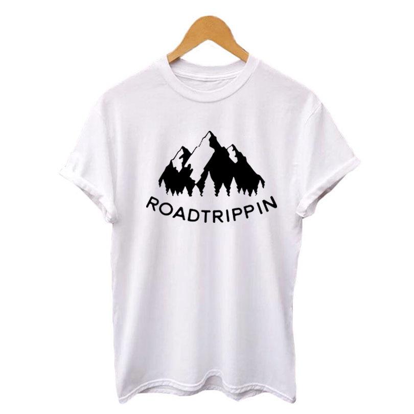 48ba1d965 Roadtrippin T Shirt Women Hipster Graphic Printing Cotton Tee Shirt  Wanderlust Road Trip T-Shirt