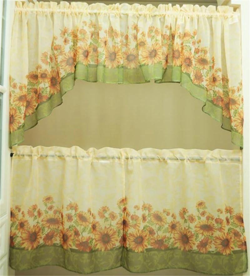 5 piece america sunflower printing kitchen window curtain set tiers valance