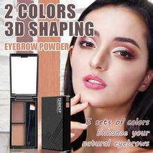 Qibest 2 Color Mix Natural Eyebrow Powder Long-lasting Waterproof Eyebrow Enhancer Brow Eye shadow With Brush Makeup недорого