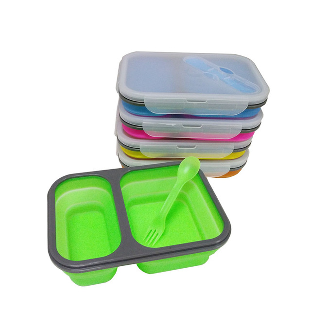 Ecofriendly Portable Collapsible Silicone Bento Lunch Box With Spoon