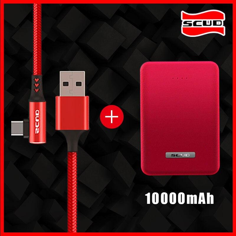 Mini batterie externe Scud 10000 mAh + câble USB type-c plus petite banque d'alimentation rapide mince pour téléphone portable Xiaomi Huawei LG Samsung Android