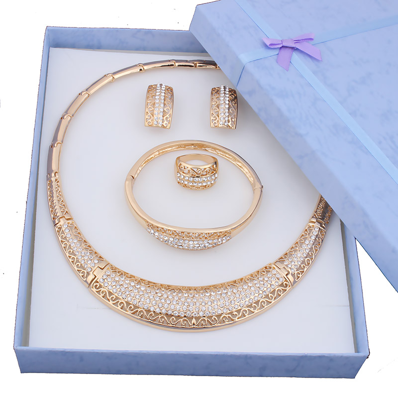 Hot sale Dubai Fashion vintage luxury rhinestone bridal necklace earring bracelet african costume gold color jewelry sets