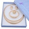 Venda quente 2015 Dubai moda de luxo do vintage rhinestone nupcial colar brinco pulseira traje africano banhado a ouro conjuntos de jóias