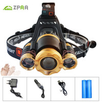 ZPAA Lnduction Sensor LED Headlamp IR XM L T6 Headlight Lantern Head Lamp Rechargeable18650 Zoom Flashlight